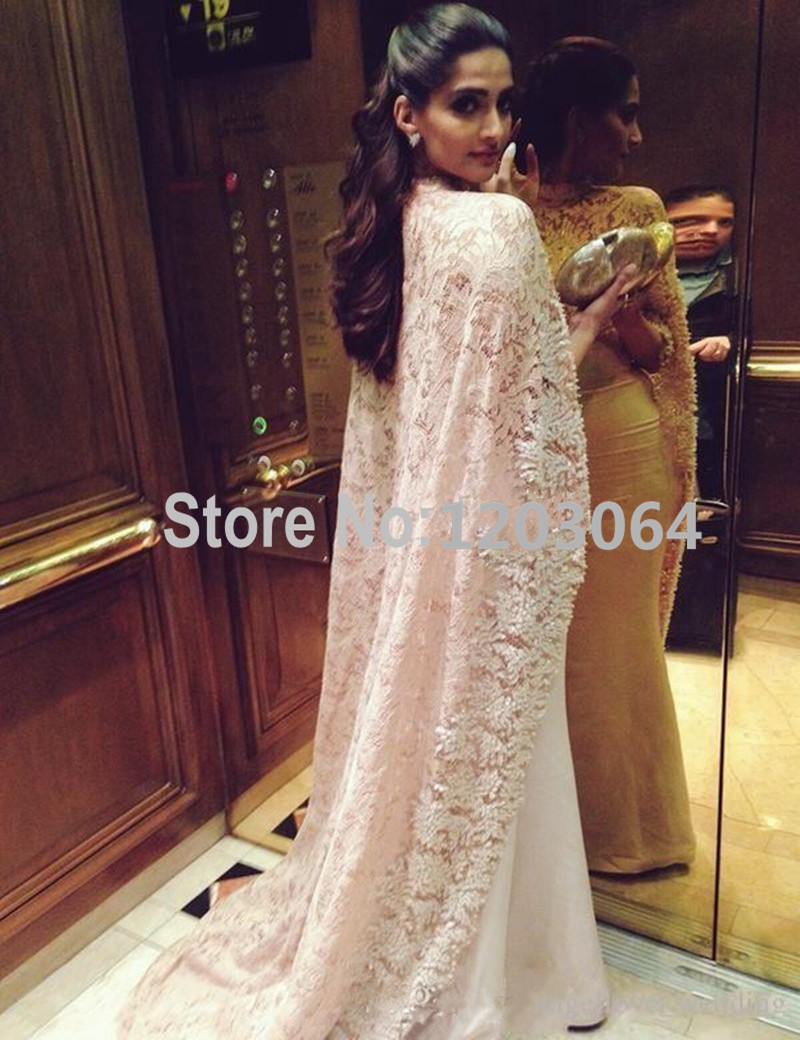 2016 Bollywood Actress Sonam Kapoor Evening Dresses High Neck Lace Beading  Long Cape Celebrity Gown Mermaid Arabic Dubai Gowns-in Evening Dresses from  ... 66b7019d18ba