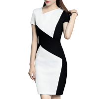 2017 New Spring Summer Women OL Black White Stitching Mini Dress Fashion Elegant Office Female Slim