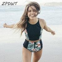 ZPDWT Deux Pièces Maillot de Bain Femmes Taille Haute Bikini Imprimé floral maillots de bain Bikini Ensemble 2018 Col Haut Maillot de bain De Bain de Plage porter