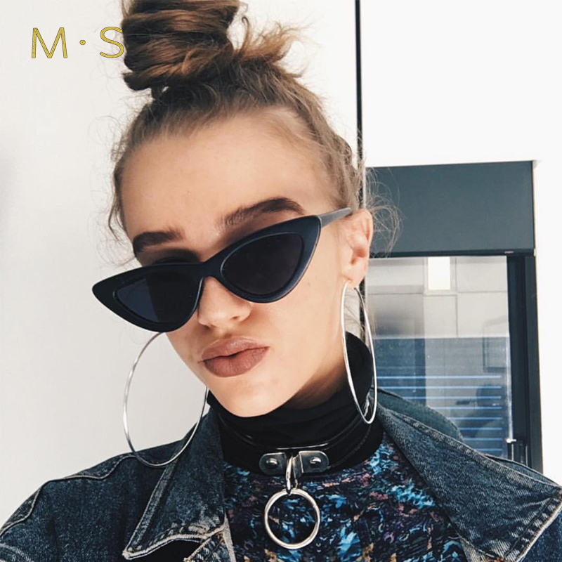 MS 2017 Vintage Sunglasses Women or Man Fashion Designer Eyewear UV400 Female Cat Eye Sun Glasses Brand Points Sun Girl J38