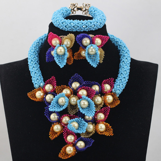 все цены на Splendid Blue African Costume Flower Bold Statement Necklace Set Nigerian Floral Necklace Earrings Women Jewelry QW395