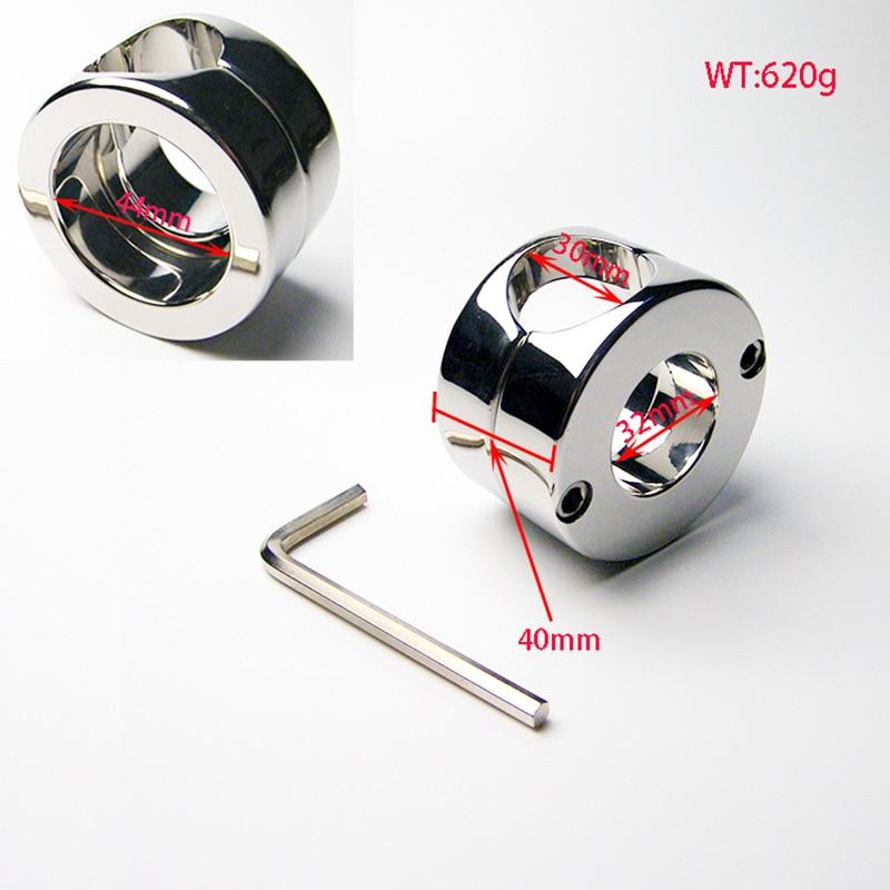 Nouveau acier inoxydable boule poids Scrotum anneau pénis coq testicules dispositif de retenue produits de sexe adulte balle civière jouets sexuels 620g