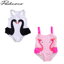 Fashion Kids Girl Summer Clothing Romper Cartoon Swan Printed Swimsuit One-Pieces Swimsuit Swimwear Bathing Suit Beach Wear