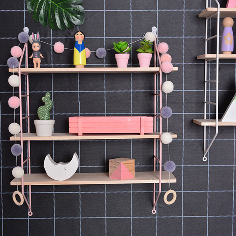 DIY Wall Holder Decoration Nordic Style Wooden Hanging Shelf 3 Tier Wall Display Rack Home Living Room