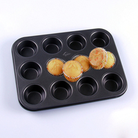 Premium Flat Bottomed Mini 12 Cup 12 With No Sticky Cake Mould Golden Black