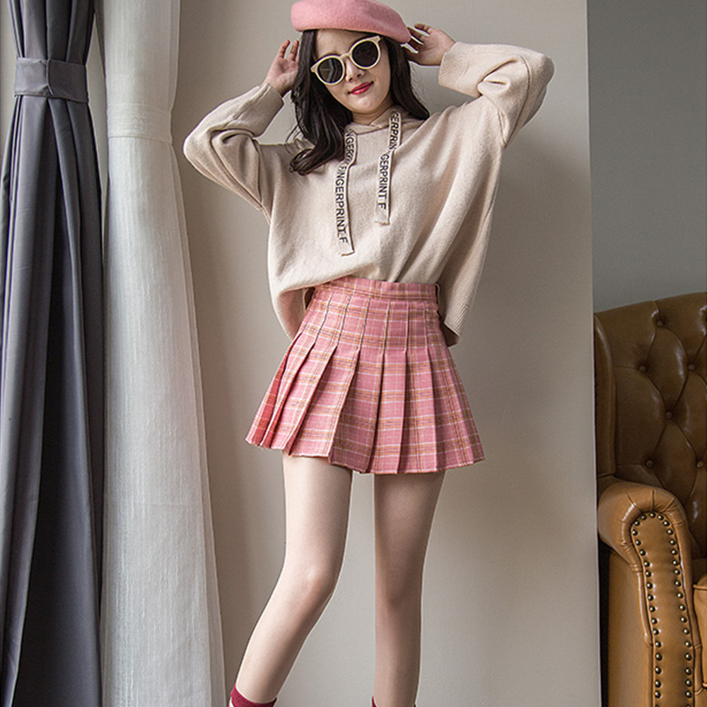 Plus Size Harajuku Short Skirt New Korean Plaid Skirt Women Zipper High Waist School Girl Pleated Plaid Skirt Sexy Mini Skirt 10