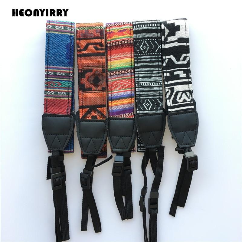 Universal Adjustable Vintage Cotton Leather Camera Shoulder Neck Strap Belt For Sony/ Nikon SLR Cameras Strap Accessories Part