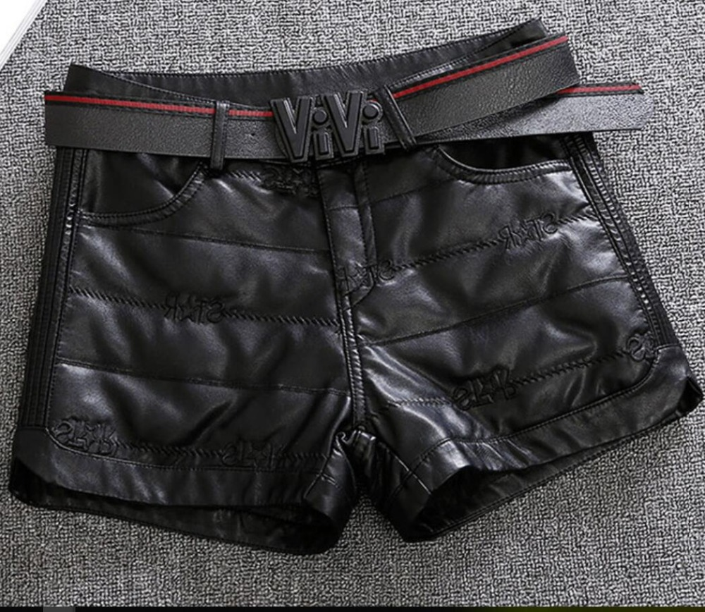 2019 autumn winter thick women black PU leather shorts wide leg high waist zipper fly ladies casual shorts