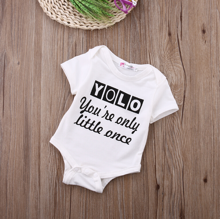 Newborn Kids Baby Boy Girls Tops Clothing White Letter Infant Quote Bodysuit Cotton Jumpsuit Outfit Clothes 2
