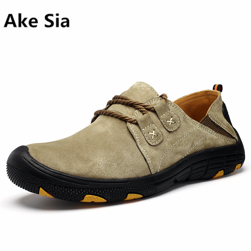 Ake Sia 2017 autumn and winter new men 's outdoor casual shoes Genuine Leather non - slip wear - resistant lace shoes size 38-44 rax suede leather casual shoes men warm autumn and winter outdoor shoes slip cushioning wear casual shoes size 39 44 b2039