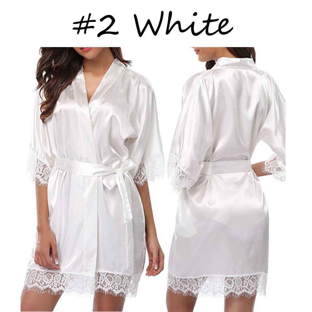 Seksowne damskie damskie szaty panny młodej szlafrok kimono satynowa jedwabna koronkowa koszula nocna bielizna nocna
