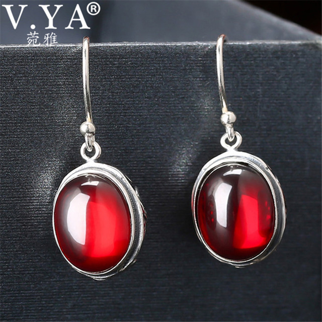 728131ac0df6 V.YA Real 925 Sterling Silver Jewelry Jacinth Stone Long Earrings For Women  Lady Party Wedding Gift Elegant Drop Earrings