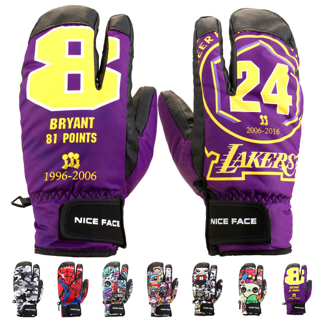 Nice Face Winter Outdoor KOBE Skiing Gloves Snow Snowboard Snowmobile Motorcycle Riding