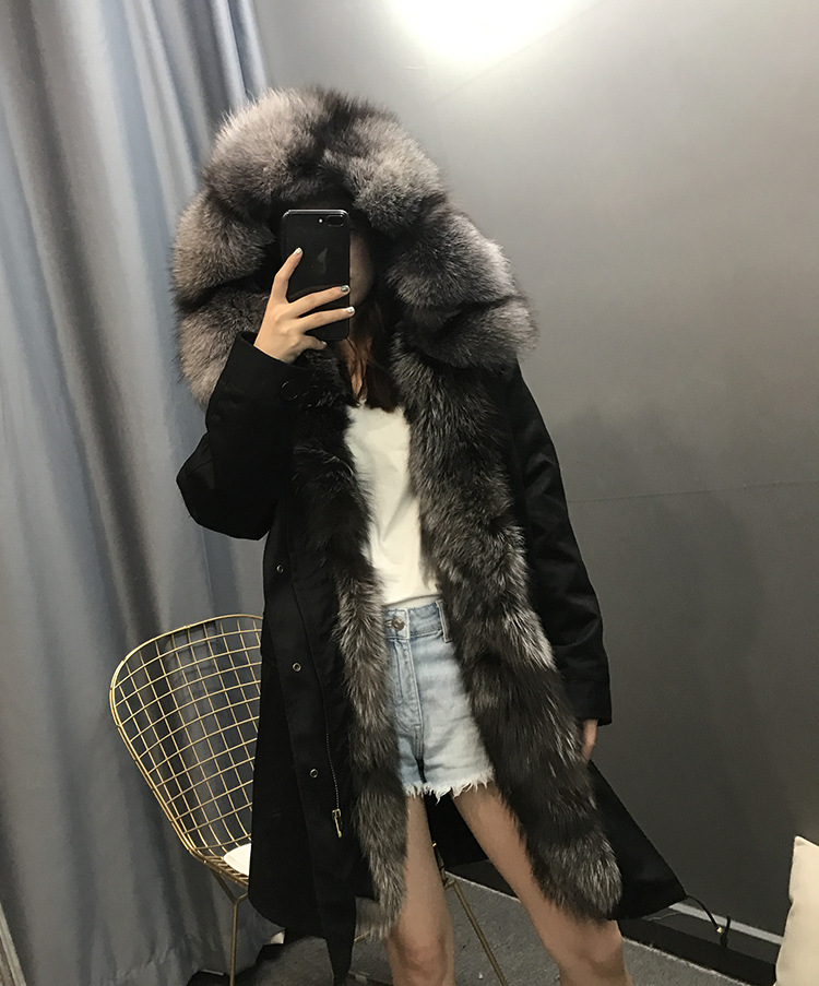 maomaokong Mwinter jacket big silver fox fur collar and real wool lining thick warm parka