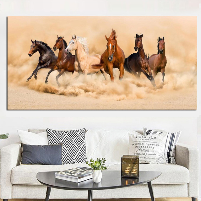 Modern Landscape Poster Print Abstract Six Running Horses Oil ...