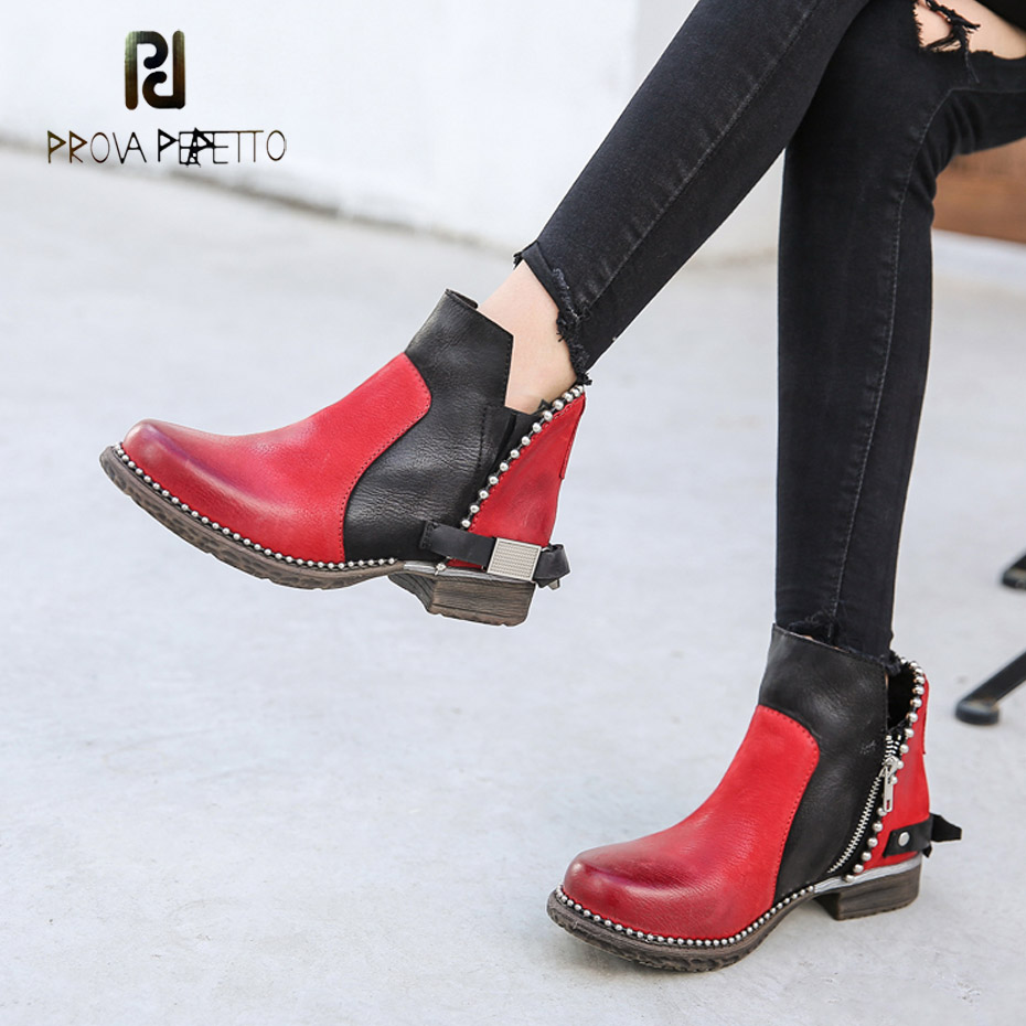 Prova Perfetto black mixed red genuine leather ankle boots rivet bead side zip western boot females back belt buckle casual shoe все цены