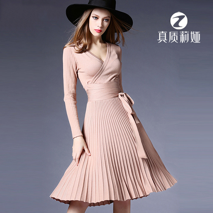 Aphrodite Home Women Dress Winter Sexy Slim Fit Long Sleeve V neck Sexy Pleated Elegant Knited