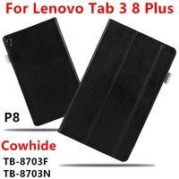 กรณีCowhideสำหรับLenovo Tab 3 8พลัสP8แท้ป้องกันสมาร์ทปกหนังแท็บ
