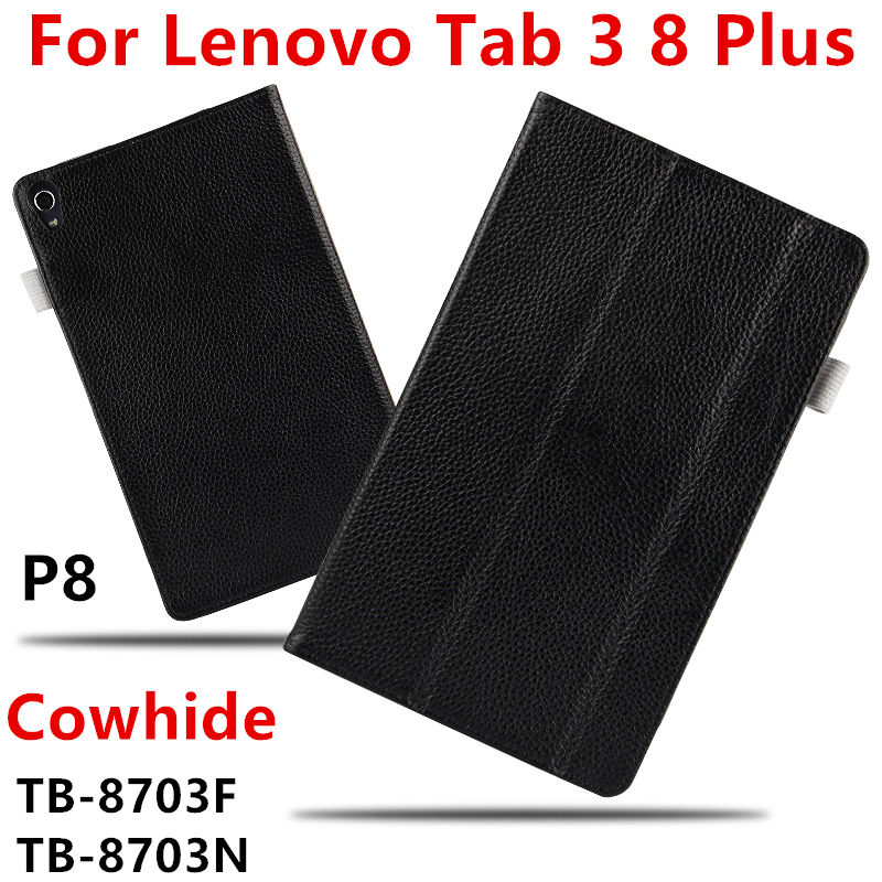 Case Cowhide For Lenovo Tab 3 8 Plus P8 Genuine Protective Smart Cover Leather Tablet PC 8 inch For TB-8703F TB-8703N Protector ultra slim 3 folder silk grain folio stand pu leather cover case for lenovo p8 tab 3 8 plus tb 8703 tb 8703f tb 8703n tablet