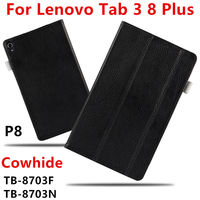 Case Cowhide For Lenovo Tab 3 8 Plus P8 Genuine Protective Smart Cover Leather Tablet PC