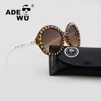 Adewu Brand Designer New 2017 Rivets Steampunk Goggle Sunglasses Women Men Round Retro Sun Glasses For