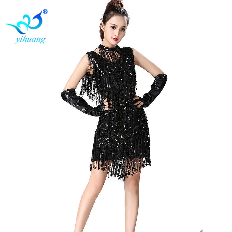 8018695df403 ... Latin Dance Costume Dress Charleston Competition Dance Dress Sequin  Fringe Jazz Dance Performance Stage Show 1920s ...