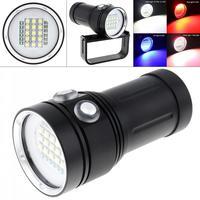Led flashlight Bright Diving Light Underwater 100m Video Light 150W 12000LM 15 XML2 +6 Red + 6 UV LED Video Dive Flashlight Lamp