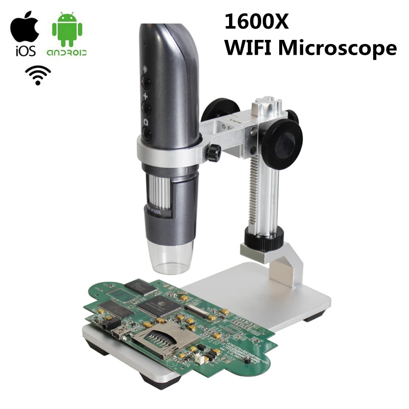 1600x USB Mobile Phone WIFI Digital Microscope HD Photo Video Magnifier with Stand for PCB Inspection 40x 1600x digital usb video dural binocular microscope with halogen lamp txs06 02dn