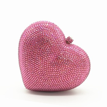 lady red/black/hot pink/green/white/silver Heart Shape Diamond Crystal wedding bags for bride evening bag purses wallets handbag