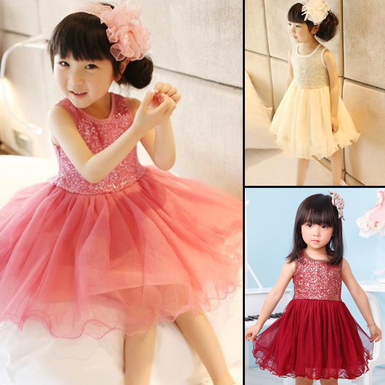 New Arrived 2017 Baby Girls Sequin Dresses For 2-7 Years Sleeveless Tulle Gold Sequin Toddler Tutu Princess Baby Girls Dress