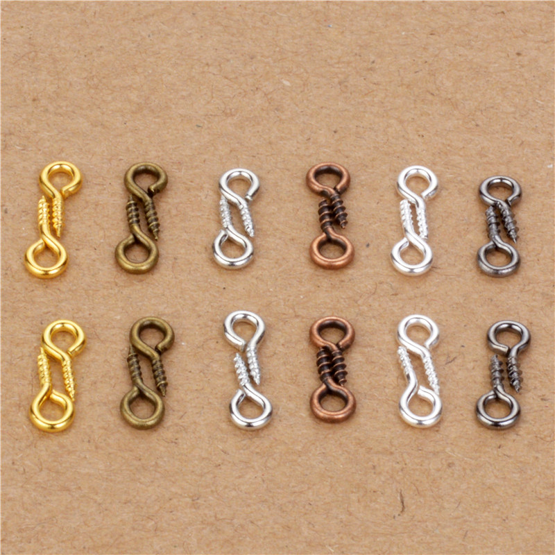 200pcs 4*8mm Tiny Mini Screw Eye Pins Eyepin Hooks Eyelets Screw Threaded Pin