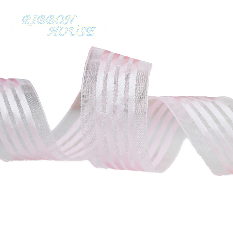 25mm White Stripe Organza gift packaging ribbon high quality wedding shiny ribbons in Ribbons from Home Garden