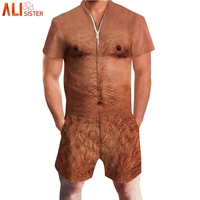 Alisister Chest Hair Muscle Print 3d Men's Rompers Short Sleeve Funny Jumpsuit Playsuit Harem Cargo Overalls Summer One Piece