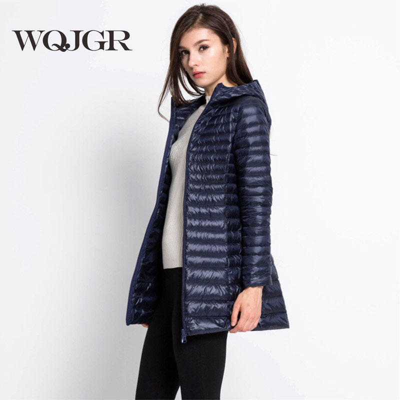 WQJGR 2017 News Autumn And Winter Winter Down Jacket For Women Hat Frivolous Jackets Girls Long Fund Ultrathin цена и фото