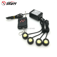 skuer 4 pcs x 1.5W High Power Eagle Eye LED Strobe Flash Knight Rider Lighting Kit + 16 flash Wireless Remote Control