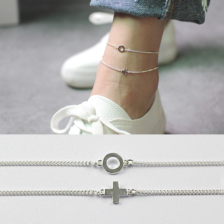 Fashion Round Circle Cross 925 Sterling Silver Foot Anklets