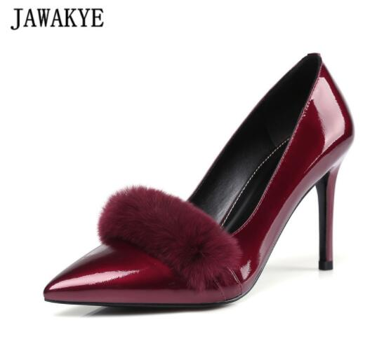 Spring Fall ornate wine red grey Rabbit fur decor lady pumps thin high heels shoes women pointed toe stiletto Zapatos mujer trousselier музыкальная шкатулка little grey rabbit© rabbit trousselier grey pink