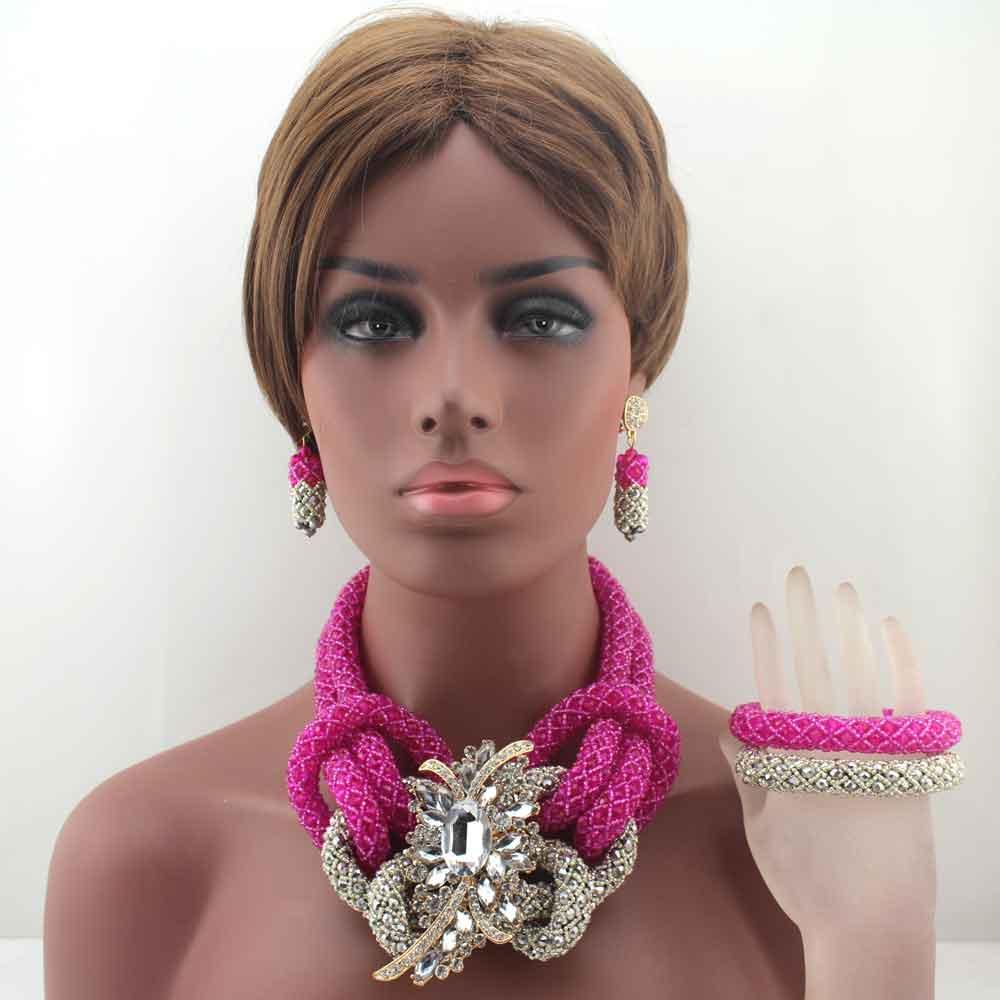 New Fashion Fuschia Pink/Gray Crystal Ball Costume Jewellery Nigerian Wedding African Crystal Beads Jewelry Sets HD8533