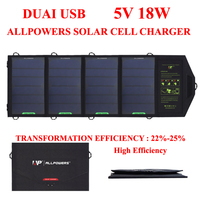 ALLPOWERS 18W5V Solar Cell Charger Solar Battery Panel Powerbank For Cellphone IPhone IPad Tablet PC Outdoor