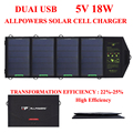 Allpowers 18w5v célula solar carregador solar painel de bateria powerbank para celular iphone/ipad tablet pc desporto ao ar livre freeshipping