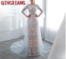 цены на See Through Blue Floral Leaf Print Prom Dresses Long Sleeves Women Embroidered Lace 2019 New Design Formal Evening Party Gowns  в интернет-магазинах