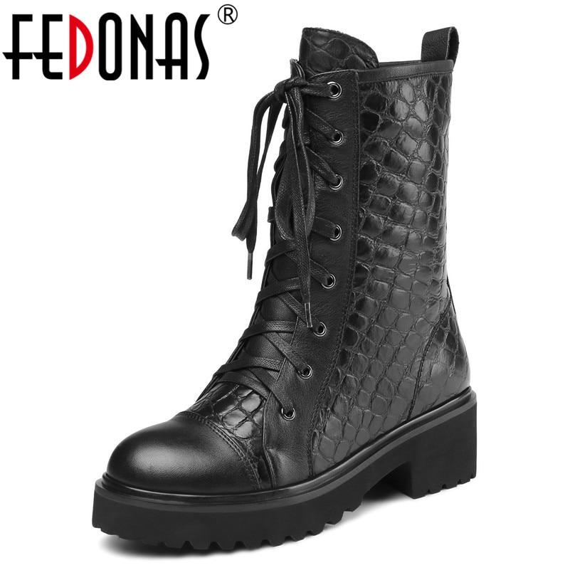 где купить FEDONAS Brand Women High Heels Mid-calf Boots High Heels Lace Up Genuine Leather High Motorcycle Boots Soft Leather Basic Boots по лучшей цене