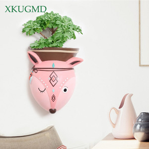 Image 3 - Creative Indoor Wall Mounted Hanging Animal Pots Planter Succulents Elephant Owl Fox Deer Bear Pendant Vase Home Wall Decoration