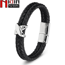 Genuine Leather Stainless Steel Magnetic Clasps 19cm,21cm Size Choose Men Women Leather Bracelet Fashion Charm Male Bracelets