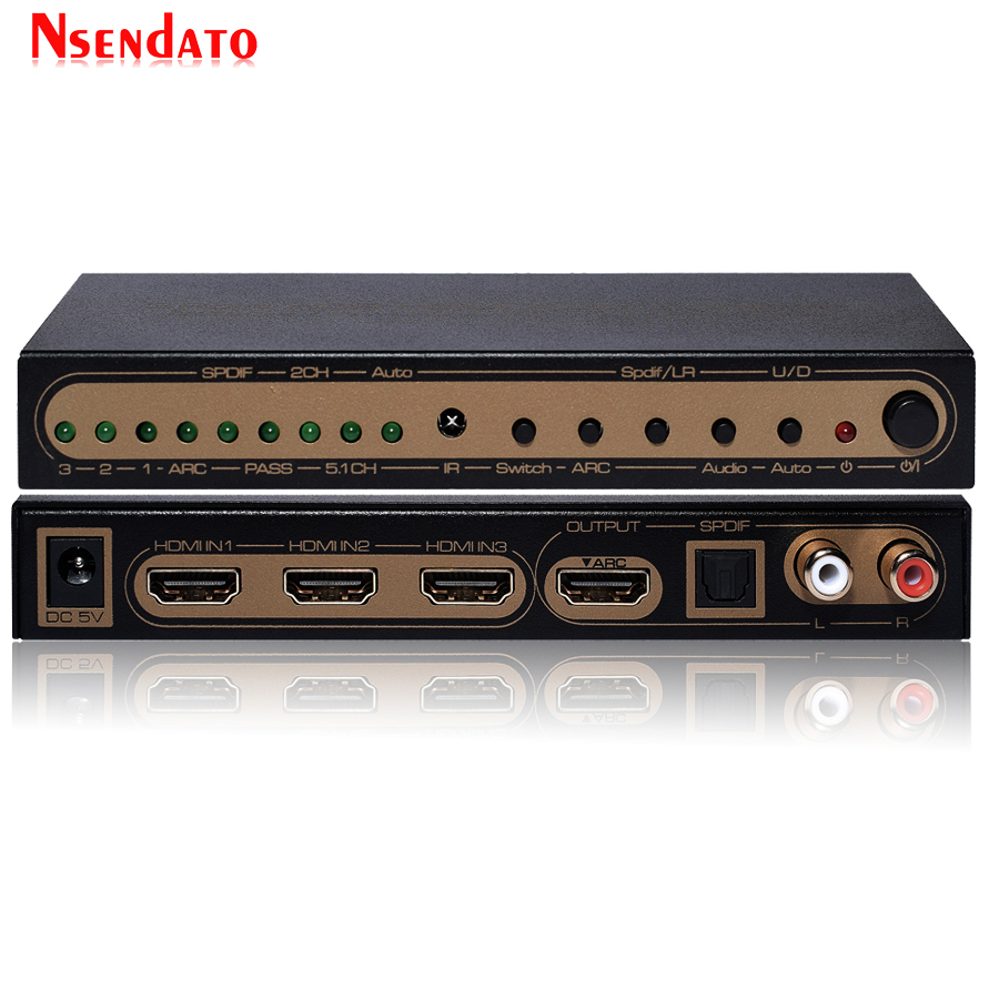 UHD 2.0 3 Port HDR HDMI Audio Extractor 4K 60Hz HDMI Converter 3 In 1 Out HDMI Adapter Switcher Support DVD SP3 AC3 TV Monitor