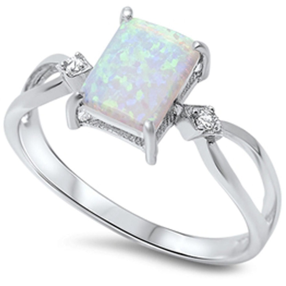Size 412 925 Sterling Silver Princess Cut Australian Fire Opal Ring  Wedding Engagement Promise
