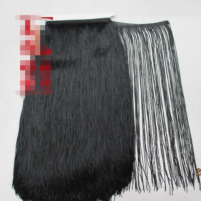 5 Yard Lot 100CM black Long Polyester Lace Tassel Fringe Lace Trim Ribbon Sew Latin Dress
