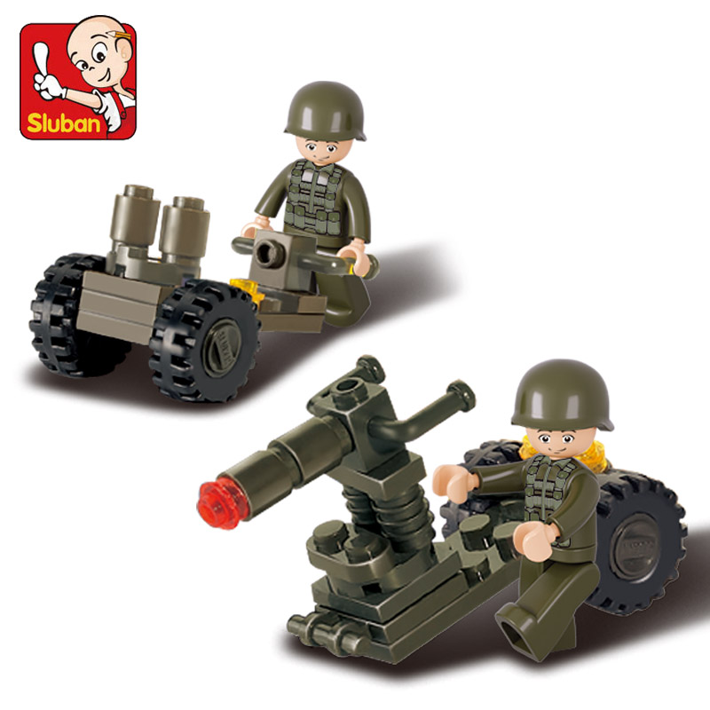 Sluban Model font b Toy b font Compatible with Lego B0118 24pcs Anti Tank Gun Model