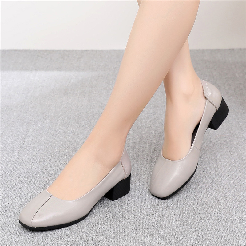 Work-Shoes Comfortable Soft-Sole Genuine-Leather Women's Medium Heel Lady thumbnail
