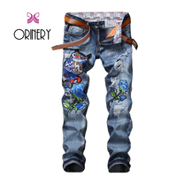 ORINERY 100% Original Design Owl Patches Jeans Men High Quality Elastic Blue Denim Jeans Fashion Ripped Jeans Straight Trousers